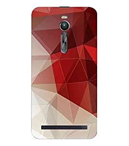 HiFi Designer Phone Back Case Cover Asus Zenfone 2 ZE551ML :: Asus Zenfone 2 ZE550ML ( White and Red Colorful Pattern Design )