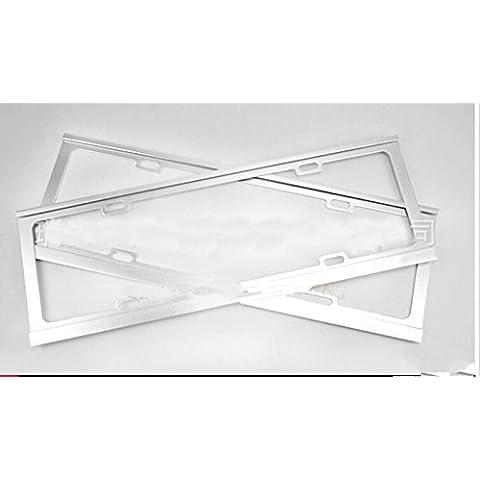 ewinever(TM) 1 par universal de la astilla del metal del acero inoxidable marco de la matrícula para el coche automático (plata)