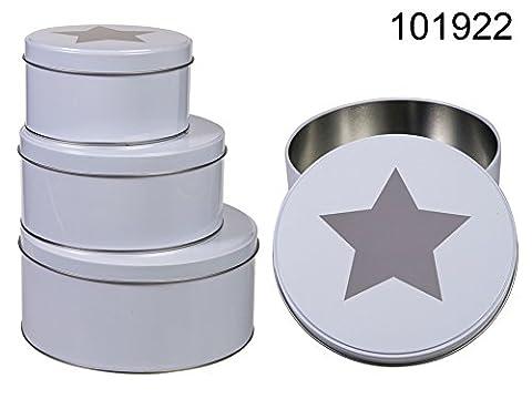 Metall Gebäck Behältnis Himmelskörper weiß 0816 ~