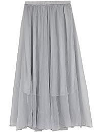 JNTworld Damen Hoher Taille Bodenlangen Puffy Strandkleid Silk Chiffon Maxirock
