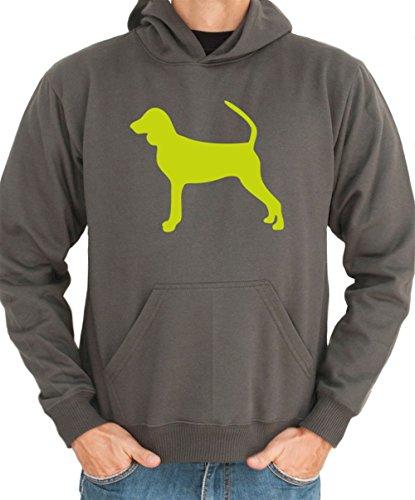 Felpa con Cappuccio Black and Tan Coonhound silhouette - Coonhound Silhouette