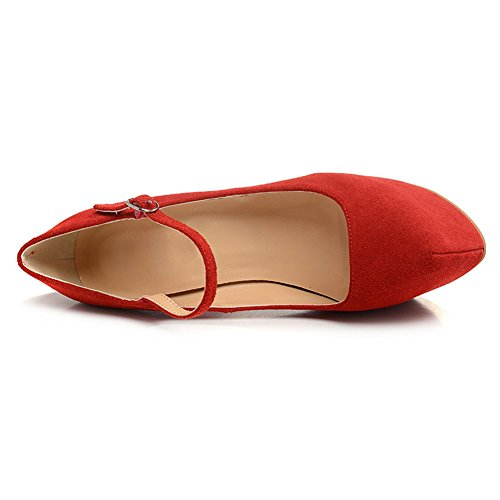 Damen Pumps Fellsamt High-Heels Stiletto Mary Jane mit Plateau Schnalle Samt-Rot