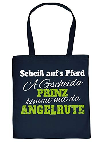 Stofftasche - Einkaufstasche mit Motiv fr Angler: A gscheida Prinz kimmt mit da Angelrute - Geschenkidee fr alle Hobbyangler - Fischen - Navyblau