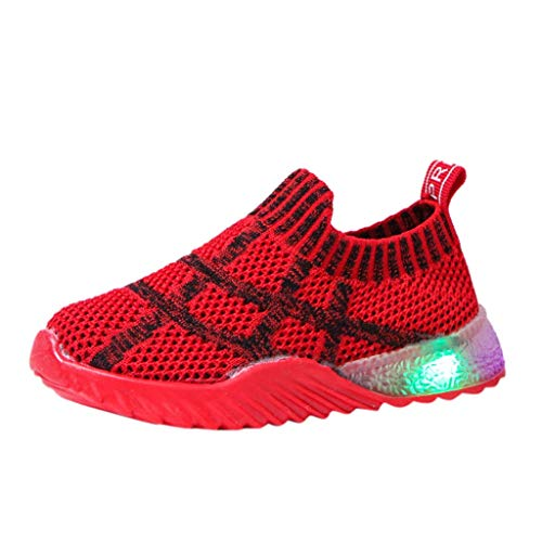 HDUFGJ Sneaker Schuhe Kinder Fliegendes Weben Tuch Laufschuhe Mädchen Jungen Led Licht Leuchtende Laufsport Schuhe Beleuchtete Schuhe26 EU(rot)