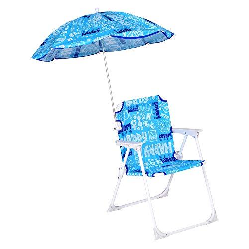 Enrico coveri sedia pieghevole colorata con ombrellino per bambini, perfetta da usare in giardino, mare e campeggio (azzurro)