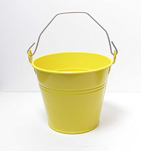 Eimer mit Griff Metall D 22 cm gelb Deko-Eimer Metall-Eimer Kinder-Eimer