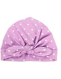 5a20f7778efb BOBORA Nouveau-né Bébé Filles Turban Chapeaux Enfants Polka Pois Coton  Bonnets avec Un Arc