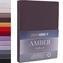 DecoKing Fitted Sheet Super King Cotton Jersey Boxspring, Amber Collection, 160x200-180x200 cm Chocolate Brown