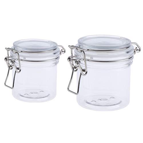 B Blesiya 2er Pack Versiegelte Dosen Transparent Behälter Topf Kosmetikflasche Behälter Topf Maske Verriegelung Deckel Rund Maske Jar