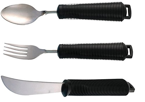 EASY GRIP BENDABLE CUTLERY - Set of large handled cutlery, Knife, fork, spoon