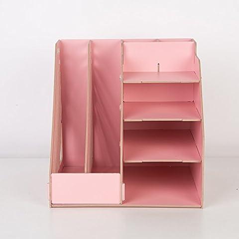 Archivo de madera estante archivo desktop admite múltiples capas de color personalizado archivos revista rack admitir , cerezos en polvo