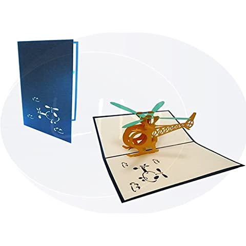 Lin - Pop Up Tarjeta de felicitación, Helicóptero en 3D