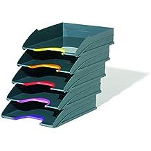 Durable 770557 Briefablagen (Varicolor, Ablagesystem mit 5 Fächern, anthrazit mit farbigen Griffzonen)