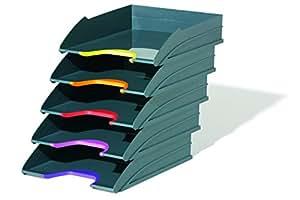 DURABLE 770557 - Varicolor Tray Set, 5 vaschette porta corrispondenza, impilabili, rientranza frontale, 255x55x330 mm (1 vaschetta), antracite/grigio