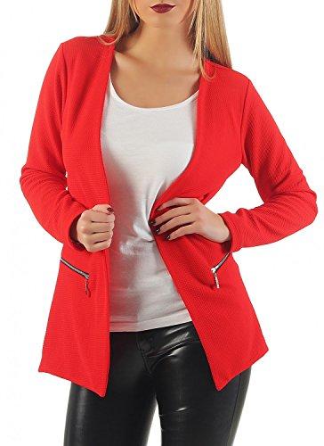 Damen lang Blazer mit Taschen ( 501 ), Farbe:Rot, Blazer 1:40 / L (Sakkos Damen Lange)