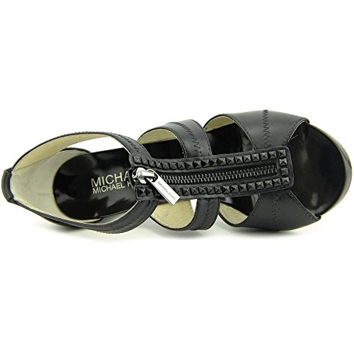 Michael Michael Kors Berkley Platform Cuir Sandales Compensés Black-Studded