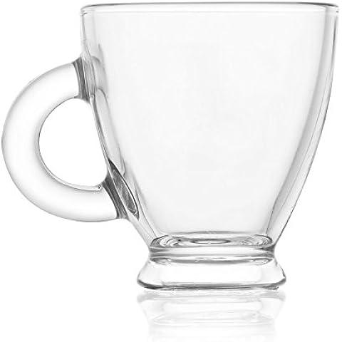 Reception 1618631 Roma-Juego de 6 tazas de Café cristal transparente, 21,5 x 17,5 x 8,5 cm