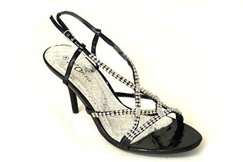 Femme Mariée Mariage/Fête Talon Haut Classique Pompes Cour Chaussures Taille Black (99)