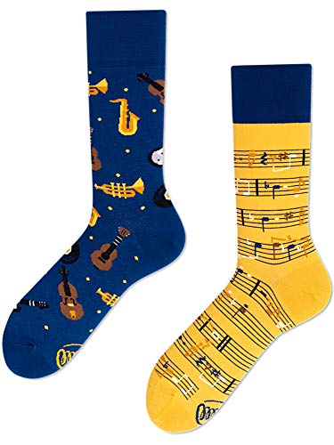 Many Mornings unisex Socken Music Notes (Blau, Gelb, 43-46)