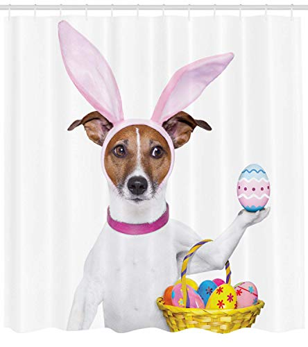 Curtain, Dog Dressed up as Easter Bunny Holding a Basket of Eggs Funny Animal Illustration, Fabric Bathroom Decor Set with Hooks, 60 * 72inch Extralong, Multicolor ()