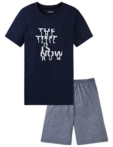 Schiesser Jungen Anzug kurz Zweiteiliger Schlafanzug, Blau (Blau 800), 140 (Herstellergröße: XS)