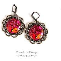 Orecchini cabochon, Albero della vita, rosso, fushia, rosa, arancione, colorato.