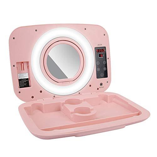Mugast Tragbare 9in LED Makeup Box,Einstellbar 2800-9990K Farbtemperatur Beauty Make-up Box für Den Unterricht Live Broadcast(Rosa)