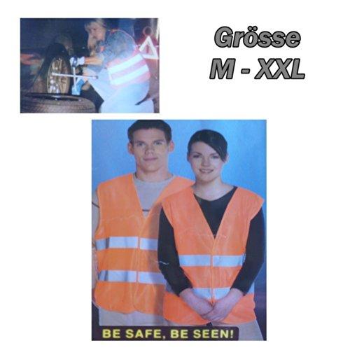 Preisvergleich Produktbild esto24-2x Warnweste orange Pannenweste Unfallweste Grösse M - XXL