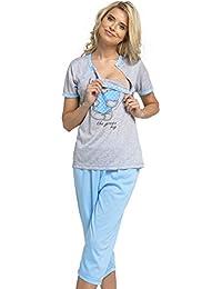e86011e564ca7 HAPPY MAMA Women's Maternity Top Nursing Pyjamas Crop Pants Nightwear. 517p