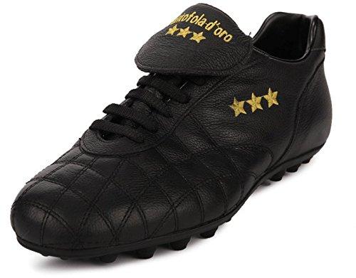 Pantofola d'Oro Scarpa da Calcio Del Duca, Pelle di Vitello, Linguetta Lunga (PC2384-02nN (43, Nero)