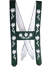 Herren Trachten Allgäuer Edelweiss Hosenträger Handgestickt grün mit weißem Stick
