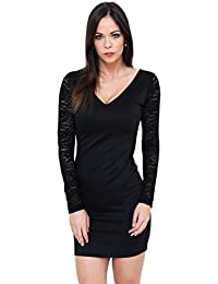 789feeaa67bd New Imperial black V-neck mini dress with lace long sleeves