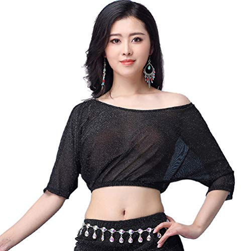 YiiJee Damen Tanzkleidung Kostüm Set Bauchtanz Tops Belly Dance Performance-Kleidung Schwarz M