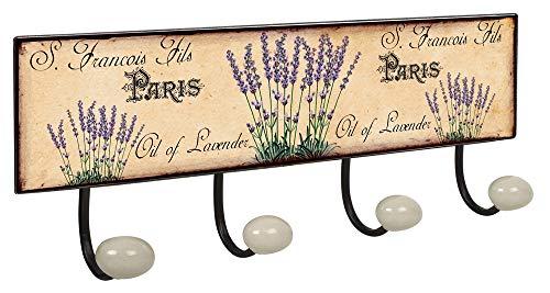 Lashuma Wandhaken Leiste 4X Haken | Dekoschild Garderobenleiste Größe: 40x15,5 cm | Groß Wandgarderobe Motiv: Blütezeit - Lavendel Vintage Handtasche