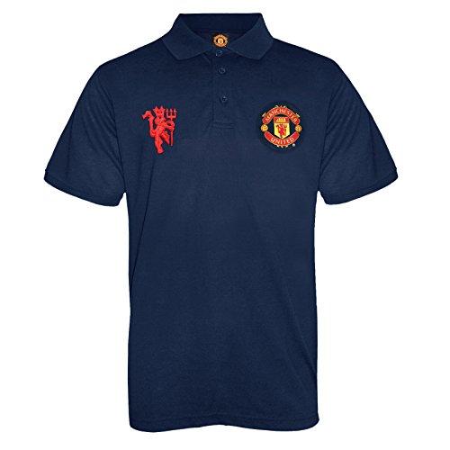 Manchester United FC Herren Polo-Shirt mit originalem Fußball-Wappen - Marineblau - M - United Manchester