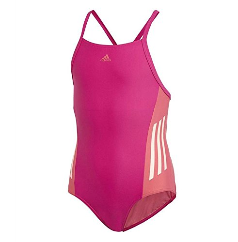 adidas Mädchen Fit 1 Piece Colorblock Badeanzug, Real Magenta/Clear Orange, 128