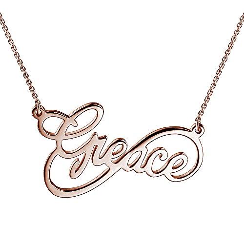 Soufeel Namenskette Unendlichkeits Persönalisierte Namen Halskette 925 Sterling Silber mit Rosegold (Keine Interpunktion und Symbole) (Personalisierter Name Halskette)