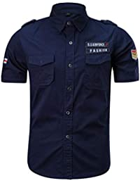 Moda Casual para Hombres Militares Color Puro Bolsillo Manga Corta Camiseta Suelta Tops
