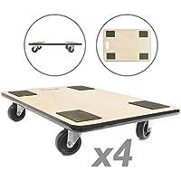 PrimeMatik - Plataforma de Carga y Transporte con Ruedas 600 x 400 mm 4-Pack