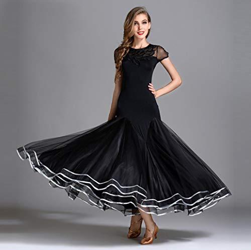 Z&X Prom Ballroom Dance Kleider-Tanzen Moderne Glatte Walzer Tango-Party Latin Swing Wettbewerb Dancewear Rock Kleid Kostüme Lange Ärmel Leotard Bekleidung Hochwertige Nylon-EIS-Seide/US-Netz,L