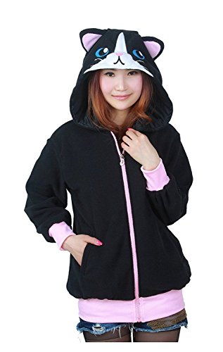 Très Chic Mailanda Damen Cartoon Sweatshirt Hoodies Zip Jacket Outwear Fleece Jacket Coat Kapuzenjacke mit Ohren (S, (Kinder Für Urlaub Kostüme)