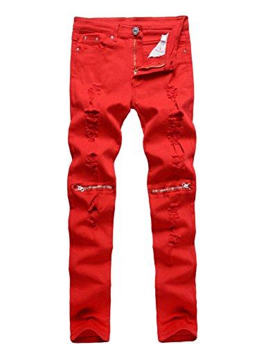 Herren Jeanshose Destroyed Look Slim Fit Stretch Regular Jeans Hose Rote