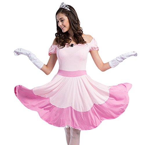 Hallowmax Damen Allerheiligen Kleidung Geschmack Versuchung Uniform Prinzessin Cosplay Rosa Kostüm (Erwachsene Rosa Prinzessin Kostüme)
