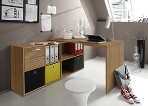 schreibtisch winkelschreibtisch mit sideboard computertisch eckschreibtisch aktenschrank. Black Bedroom Furniture Sets. Home Design Ideas
