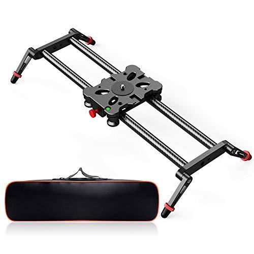 FOSITAN 15.7''/40cm Kohlefaser Kamera Slider, Tragkraft bis zu 17.6lbs Kamera Dolly Track Slider Video Stabilizer Schiene für stabilisierend Smartphone, DSLR Kamera DV Video Camcorder Film Fotografie