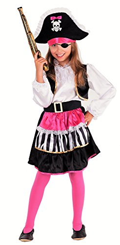 Lady Pirata -Costume da Pirata Bambina Rosa/Nero/Bianco - Travestimento di Carnevale Ragazza (10-12 Anni)