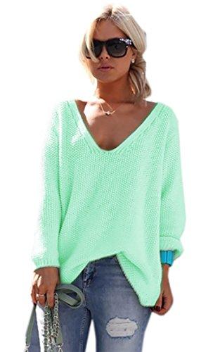 Mikos* Damen Pullover Hoodie Sweatshirt Warm Lange Ärmel Casual Sleeve Pullover Jacke Slim Mantel Tops (617) (Hellmint) - Grüner Pullover Warme Jacke