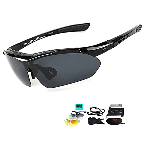 Fahrradbrille Sportbrille Sonnenbrille mit UV400 5 Wechselgläser inkl Schwarze polarisierte Linse (Schwarz1)