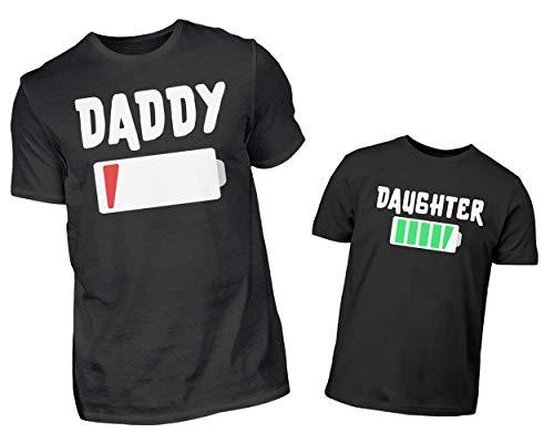 Vater Tochter T-Shirt Partnerlook Set - Daddy Leere Batterie & Daughter Volle Batterie Partneroutfit - Papa Kind Akku Partnershirt Geschenkset (M & 3/4 (98/104)) (Der Dude Baby Kostüm)