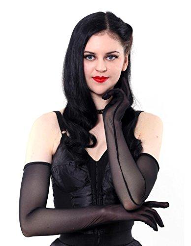 What Katie Did A2016 Lange Transparente Schwarze Handschuhe Einheitsgrösse Damen Nylon-handschuhe